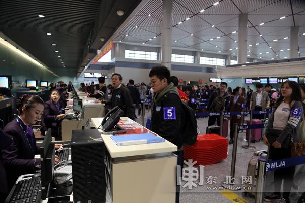 """哈尔滨机场""""十一""""运送旅客41万 京沪等地至哈航班客座率达80%"""